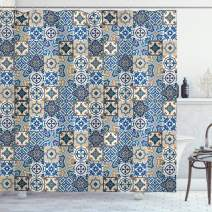 """Ambesonne Moroccan Shower Curtain, Tile Pattern with Portuguese Traditional Azulejo Motifs Oriental Curls, Cloth Fabric Bathroom Decor Set with Hooks, 70"""" Long, Pale Brown"""