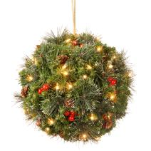 National Tree 16 Inch Crestwood Spruce Kissing Ball with Silver Bristle, Cones, Red Berries and 50 Battery Operated Warm White LED Lights (CW7-300-16K-B1)