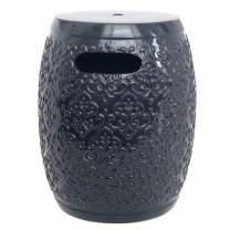 "Amazon Brand – Ravenna Home Damask-Pattern Ceramic Garden Stool or Side Table, 16""H, Navy Blue"