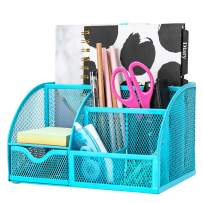 Exerz Mesh Desk Organizer Office with 7 Compartments + Drawer/Desk Tidy Candy/Pen Holder/Multifunctional Organizer EX348 Blue