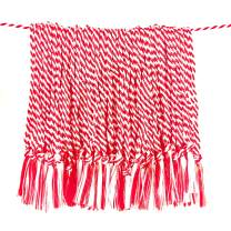 Tassel Depot 100 Floss Bookmark Tassels - RED/White Combo