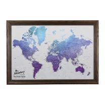 Push Pin Travel Maps Canvas - Personalized Vibrant Violet World with Solid Wood Brown Frame