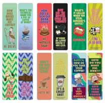 Creanoso Funny Coffee Jokes Puns Bookmarks (30-Pack) – Unique Stocking Stuffers Gifts for Boys & Girls, Unisex Adults – Cool Book Page Clippers Collection Set for Kids – Awesome Giveaways