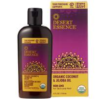Desert Essence Organic Coconut and Jojoba Oil - 4 Fl Oz - For Skin and Hair - Beauty Oil - No Oily Residue - Absorbs Quickly - Rejuvenates Skin - USDA Certified - Moisturizes Skin