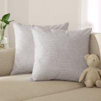 Deconovo Faux Linen Throw Cushion Slipcover Cushion Cover Geometric Kaleidoscope Throw Cushion Cover Case Pillow Shams for Sofa 18 x 18 Inch White Set of 2