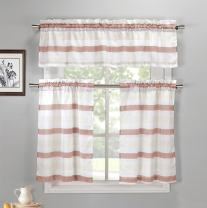 Duck River Textiles - Akua Faux Silk Kitchen Tier & Valance Set   Small Window Curtain for Cafe, Bath, Laundry, Bedroom - (Coral & Beige)
