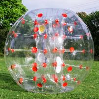 Popsport Inflatable Bumper Ball 4ft Red Dot Bubble Soccer Ball 0.8mm Eco Friendly PVC Zorb Ball Human Hamster Ball for Adults and Kids