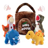 Plush Creations Dinosaur House with 4 Plush Talking Dinos, Makes a Great Gift for Boys and Girls, Interactive & Educational Talking Plush Dinosaurs Will stimulate your child's imagination (Dino House)
