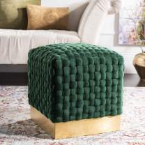 Safavieh Home Collection Ravyn Emerald and Gold Woven Velvet Ottoman