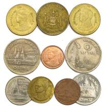 10 Old Coins from Thailand, Southeast Asia Collectible Coins: Thai BAHT, SATANG. Perfect Choice for Your Coin Bank, Coin Holders and Coin Album