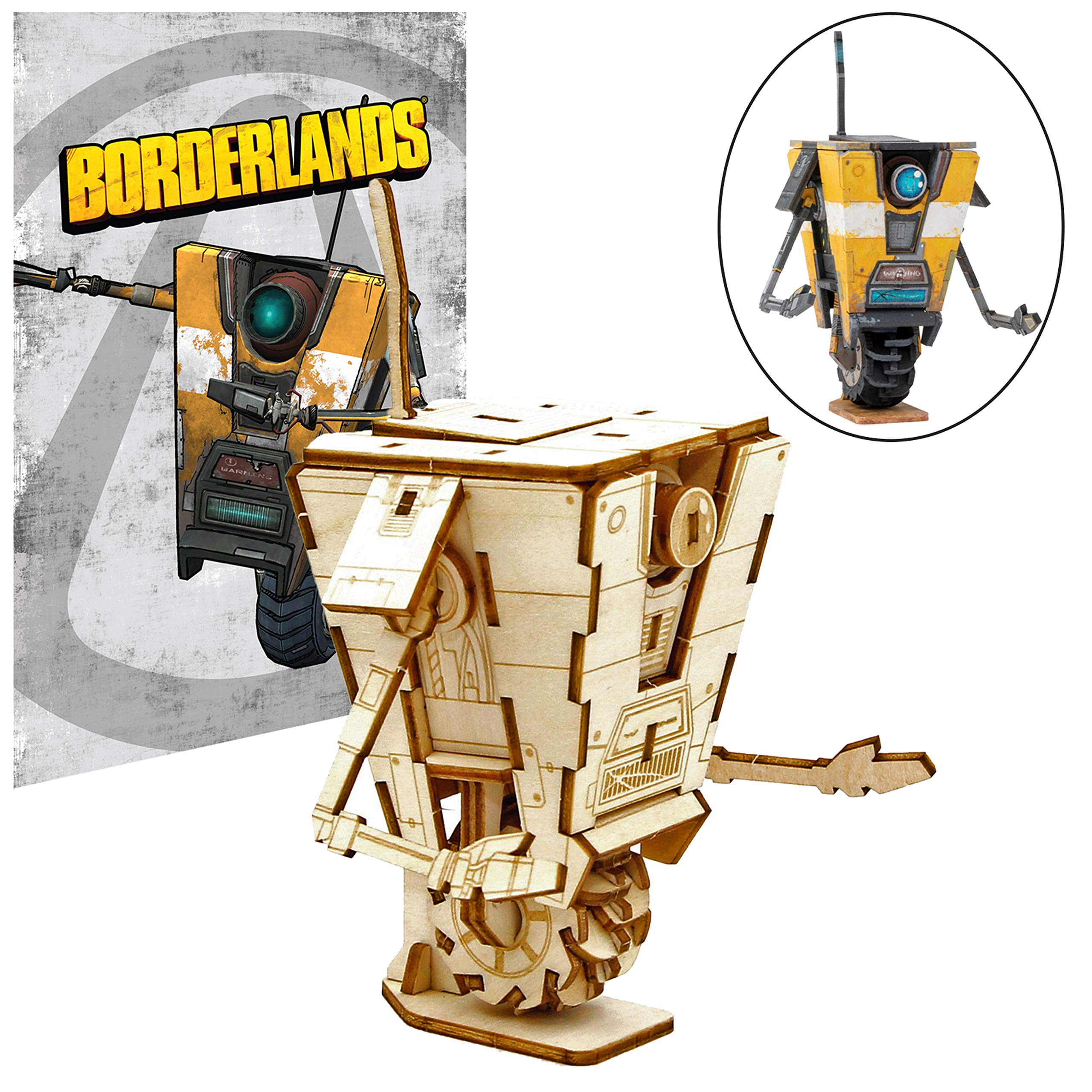 Borderlands Claptrap Poster and 3D Wood Model Figure Kit - Build, Paint and Collect Your Own Wooden Toy Model - 11x17 Poster - Teens and Adults,17+