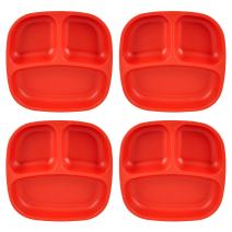 """Re-Play Recycled Products Small Divided Plates, Set of 4 (7.375"""" Divided Deep Walled Plates, Red)"""