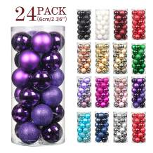 """Jusdreen 24pcs Christmas Balls Ornaments for Xmas Tree Shatterproof Christmas Tree Hanging Balls Decoration for Holiday Party Baubles Set with Hang Rope 2.36""""(Purple 60mm)"""