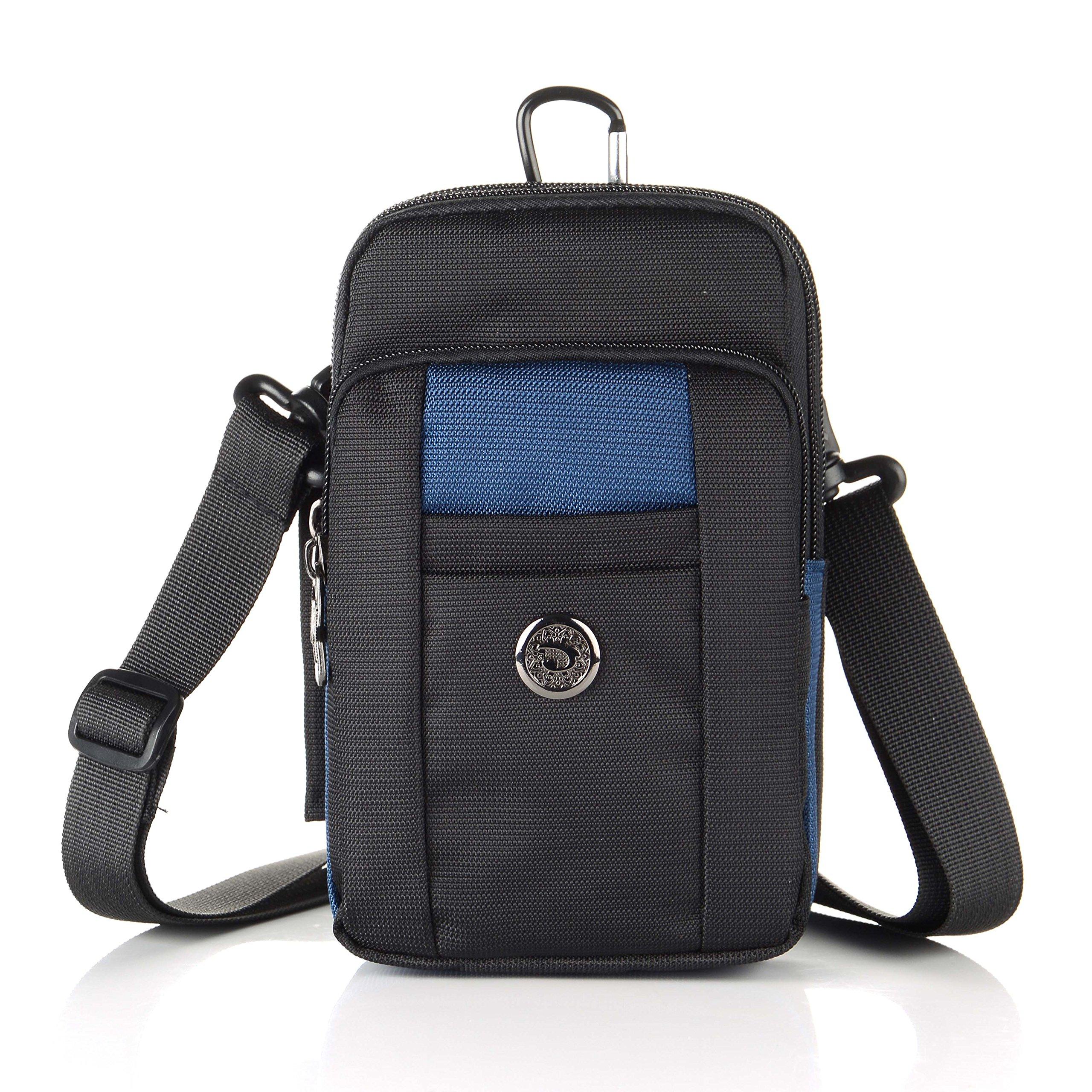 liangdongshop Essential Phone Belt Clip Waist Hip Pack Travel Messager Purse Crossbody Bag 3 Way Universal Water Resistant(Vertical-Dark Blue)