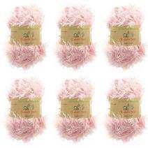 BambooMN JubileeYarn 50g Eyelash Ruffle Fur Yarn, 6 Skeins Pink