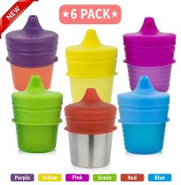 Silicone Sippy Cup Lids (4 Pack)   Baby Cup Lids, Make Any Cup A Spill Proof Sippy Cup, 100% BPA Free   Suitable for Toddlers and Babies (Pink, Blue, Yellow, Green, Purple, Red)