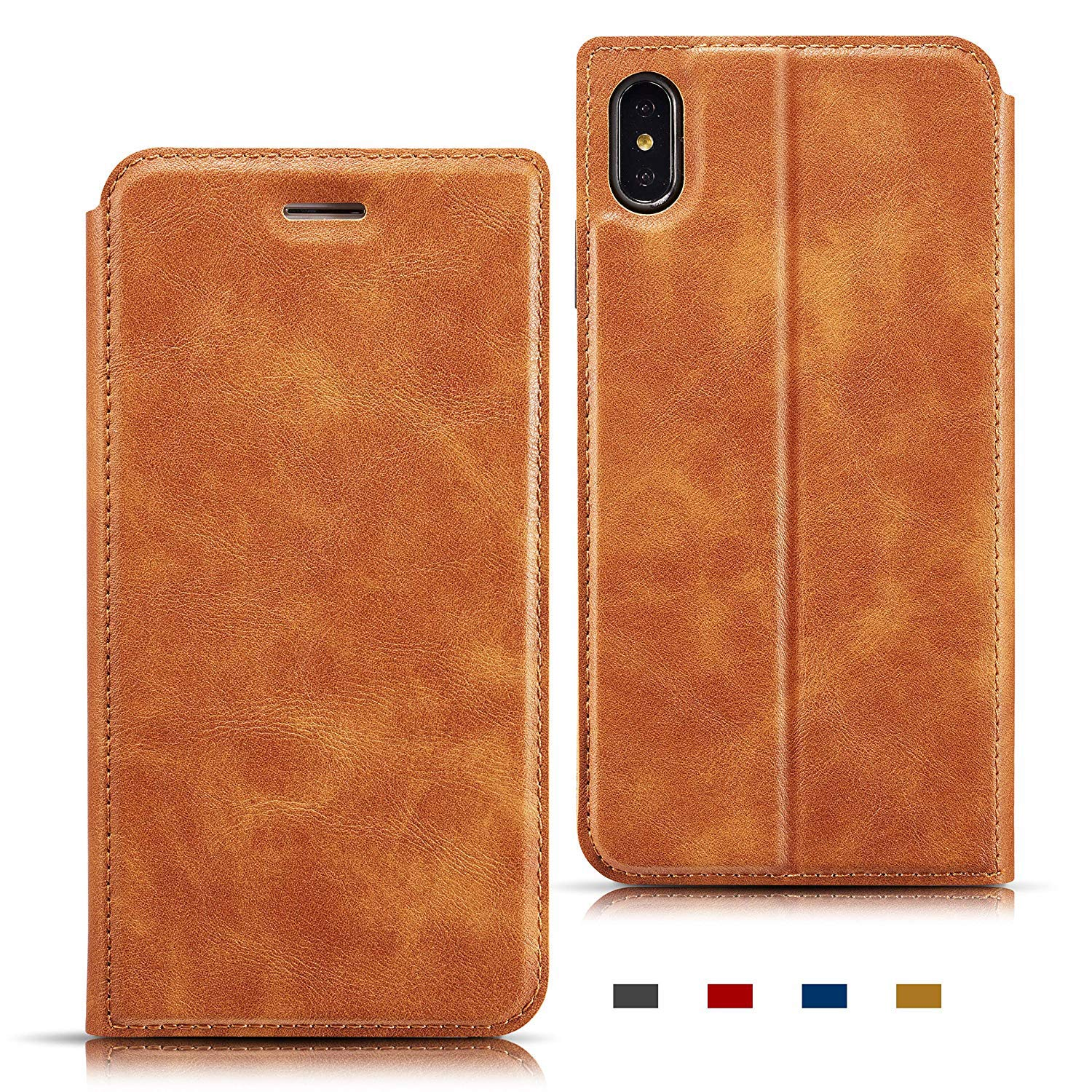 ZCDAYE Wallet Case for iPhone Xs Max,Premium PU Leather Vintage Style Magnetic Protective Case Folio Flip Cover with Kickstand, Lanyard & Credit Card Slots for iPhone Xs Max-Brown