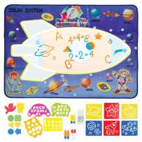 Space Rocket Science Theme Magic doodle Aqua Mat Large Square Water Drawing Play Mat Kinesthetic Learning Toys for ages 3, 4, 5, 6, 7, 8, 9, 10, 11, 12 years olds Mess Free Doodle Mat for Toddlers