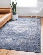Unique Loom Chateau Collection Distressed Vintage Traditional Textured Navy Blue/Beige Area Rug (9' 0 x 12' 0)