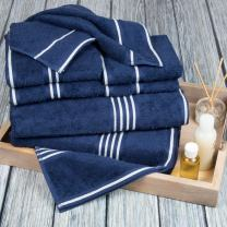 Lavish Home Rio 8 Piece 100% Cotton Towel Set - Navy