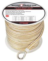 """Extreme Max 3006.2347 BoatTector Double Braid Nylon Anchor Line with Thimble - 3/8"""" x 600', White & Gold"""