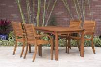 Amazonia Arizona 5-Piece Patio Rectangular Dining Table Set   Eucalyptus Wood   Ideal for Outdoors and Indoors
