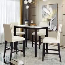 5 Pieces Dining Table Set, Elegant Faux Marble Desk and 4 Upholstered Chairs, Perfect for Kitchen, Breakfast Nook, Bar, Living Room