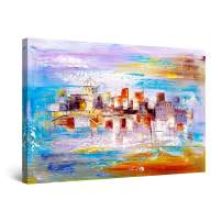 "Startonight Canvas Wall Art Abstract - My Colored City Painting - Large Artwork Print for Living Room 32"" x 48"""