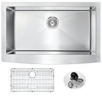 "ANZZI Elysian 32"" Farmhouse Stainless Steel Kitchen Sink with Strainer | 16 Gauge Large Modern Brushed Satin Single Deep Soak Basin Bowl Commercial Utility Prep Work Station | K-AZ3320-1A"