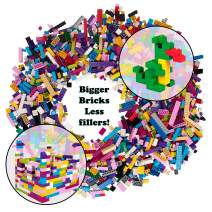 SCS Direct 2,000 Pc Bulk Building Bricks Set- 18 Colors (Pastel and Rainbow) in 13 Shapes- Tight Fit w All Major Brands