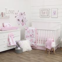 NoJo Dreamer Watercolor Floral 8 Piece Nursery Crib Bedding Set, Rose/Pink/White