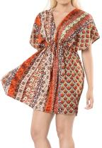 LA LEELA Women's Boho Casual Loose Beach Bikini Swimsuit Cover Ups Short Mini