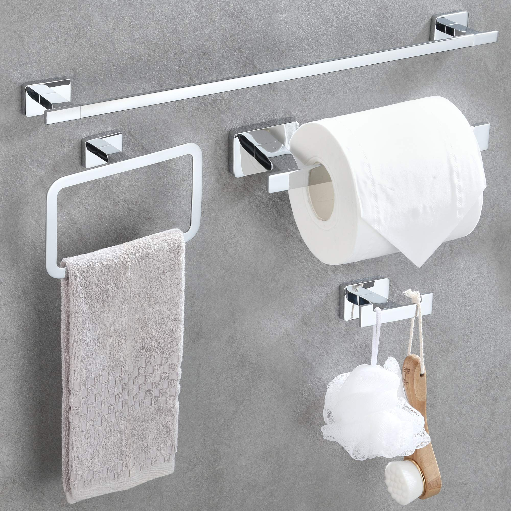 "GERUIKE 4 Piece Bathroom Hardware Accessories Set,Chrome Stainless Steel Towel Bar Sets Wall Mounted - Includes 18"" Towel Bar, Square Towel Ring, Toilet Paper Holder, Robe Towel Hook"