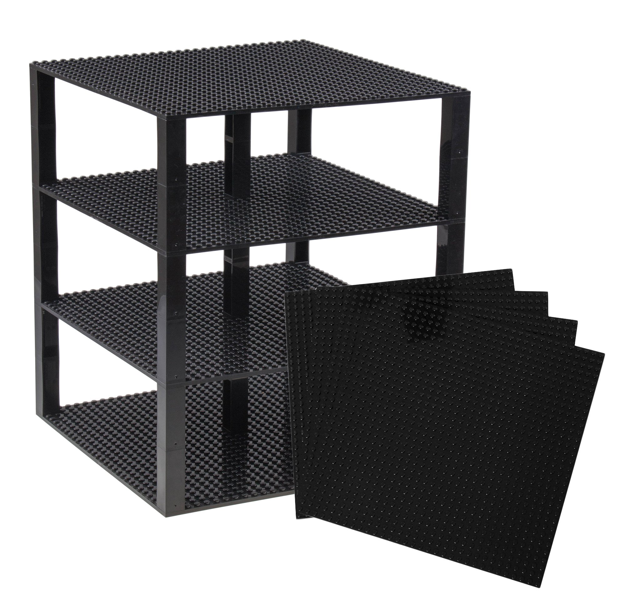 """Strictly Briks Classic Baseplates 10"""" x 10"""" Brik Tower 100% Compatible with All Major Brands   Building Bricks for Towers and More   4 Black Stackable Base Plates & 30 Stackers"""