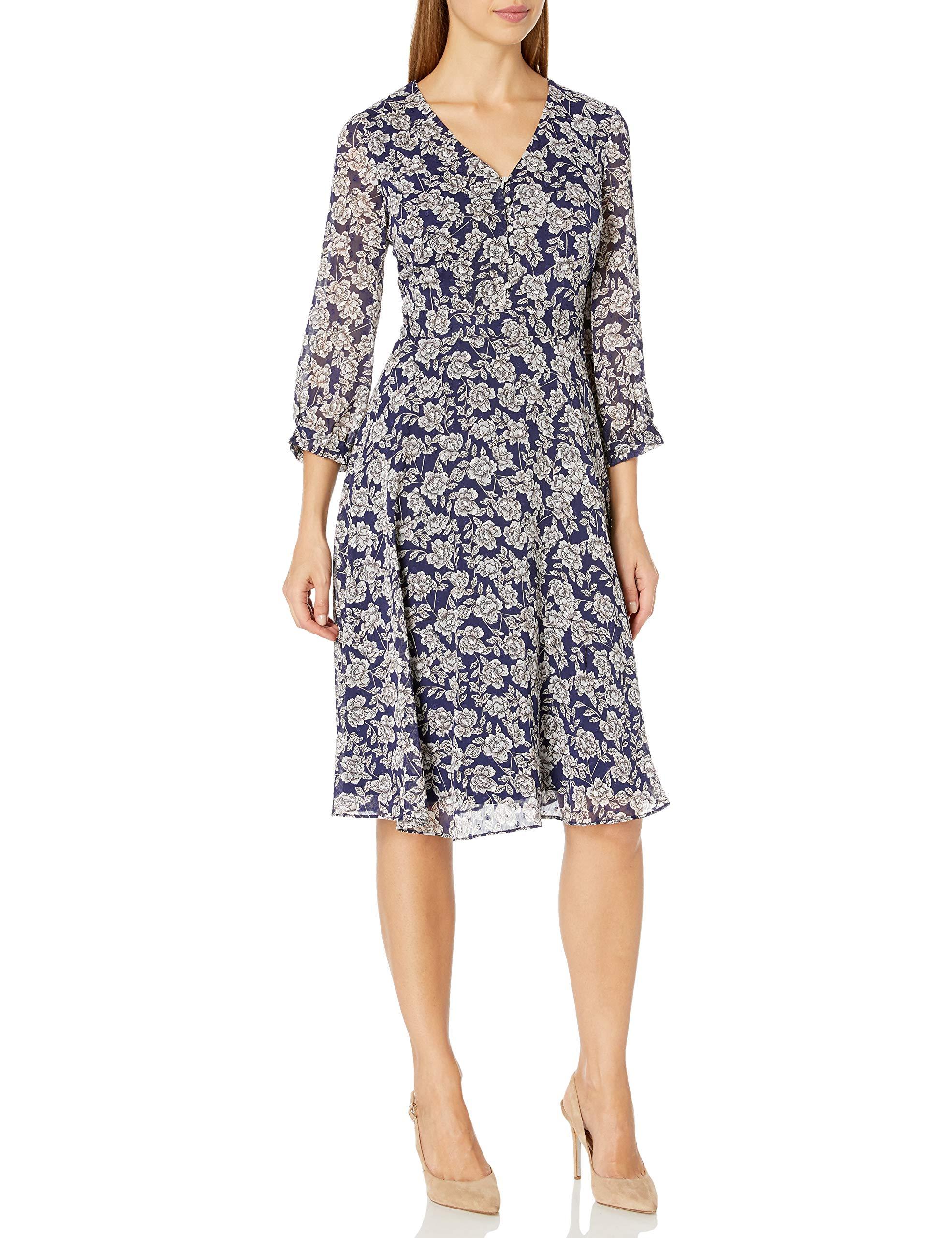 Karl Lagerfeld Paris Women's Floral Printed Chiffon Midi Dress