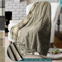 PAVILIA Premium Plaid Fleece Faux Fur Throw Blanket   Super Soft, Cozy, Lightweight Microfiber, Reversible, All Season for Couch or Bed (Taupe, 50 x 60 Inches)