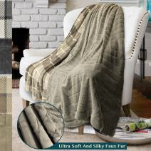 PAVILIA Premium Plaid Fleece Faux Fur Throw Blanket | Super Soft, Cozy, Lightweight Microfiber, Reversible, All Season for Couch or Bed (Taupe, 50 x 60 Inches)