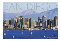 San Diego, California - Mountains and Sailboats (Premium 1000 Piece Jigsaw Puzzle for Adults, 19x27, Made in USA!)