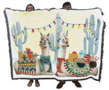 Pure Country Weavers Boho Christmas Llama Woven Throw Blanket by 100% Cotton 72x54 Made in USA