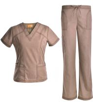Jeanish V Neck Scrubs Set Superior Softness Washed Lady Women Scrubs Medical Uniforms Top and Pants JS1605