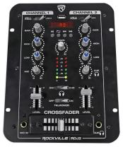 Rockville 2 Channel DJ Mixer with USB, Cue Monitor, Talkover, 4 Line Inputs (RDJ2)