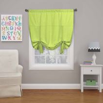 """ECLIPSE Blackout Curtains for Kitchen - Kendall 42"""" x 63"""" Short Single Panel Tie Up Shades for Small Window, Lime"""