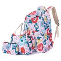 H HIKKER-LINK Floral School Backpack Set Bookbag&Lunch Bag&Pencil Case Pink