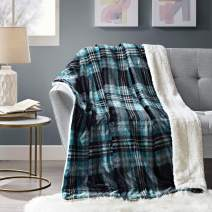 Comfort Spaces Ultra Soft and Cozy Sherpa Couch and Bed, Plush Fleece Reversible Throw-Blanket with Fuzzy Faux FurThrows, 50x60, Aqua Plaid