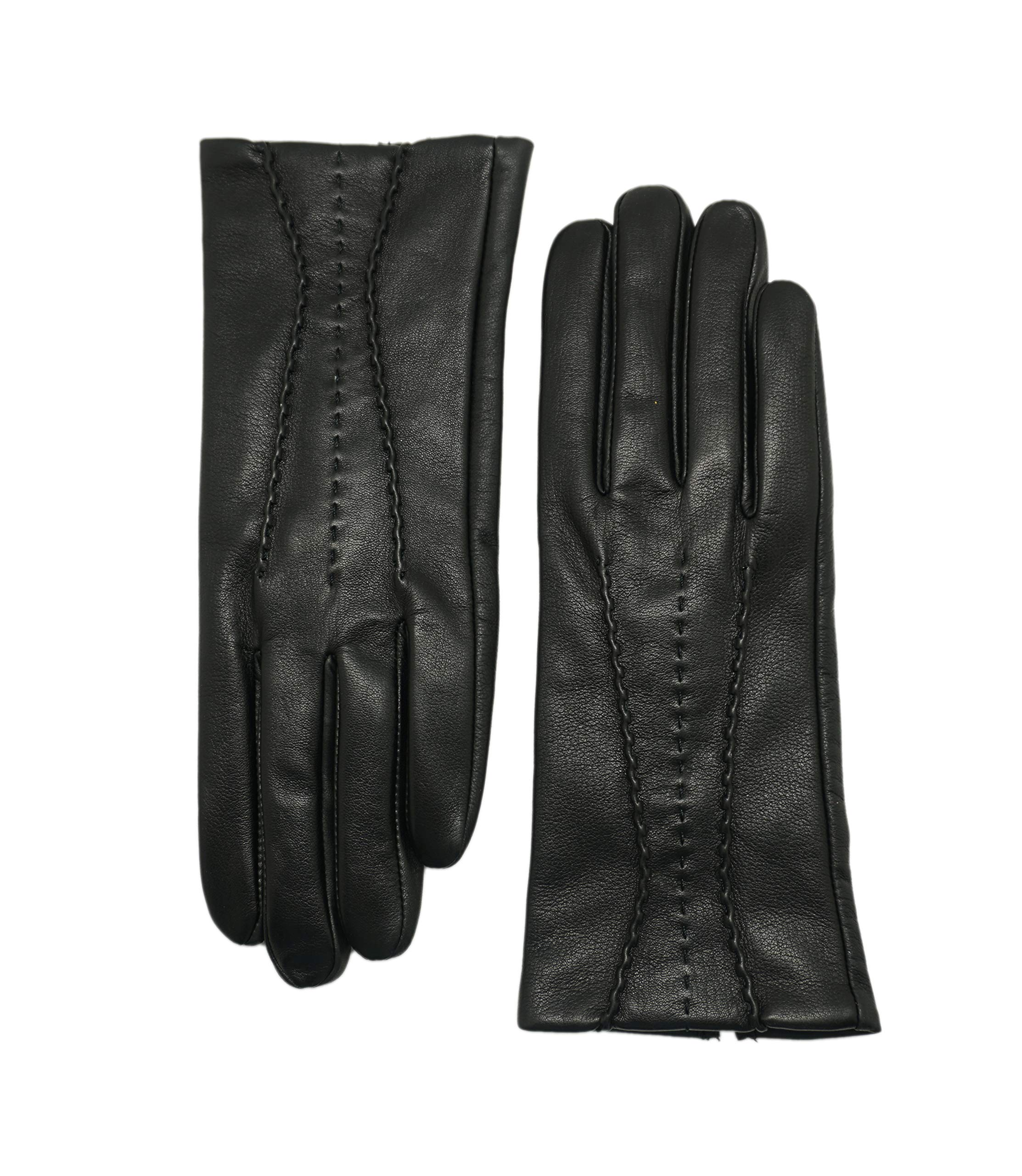 YISEVEN Womens Winter Touchscreen Leather Gloves Fleece Lined Three Points