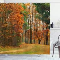 """Ambesonne Fall Shower Curtain, Cloudy Overcast Day in September Shrubs Pines Sidewalk in The Park Forest, Cloth Fabric Bathroom Decor Set with Hooks, 70"""" Long, Orange Green"""