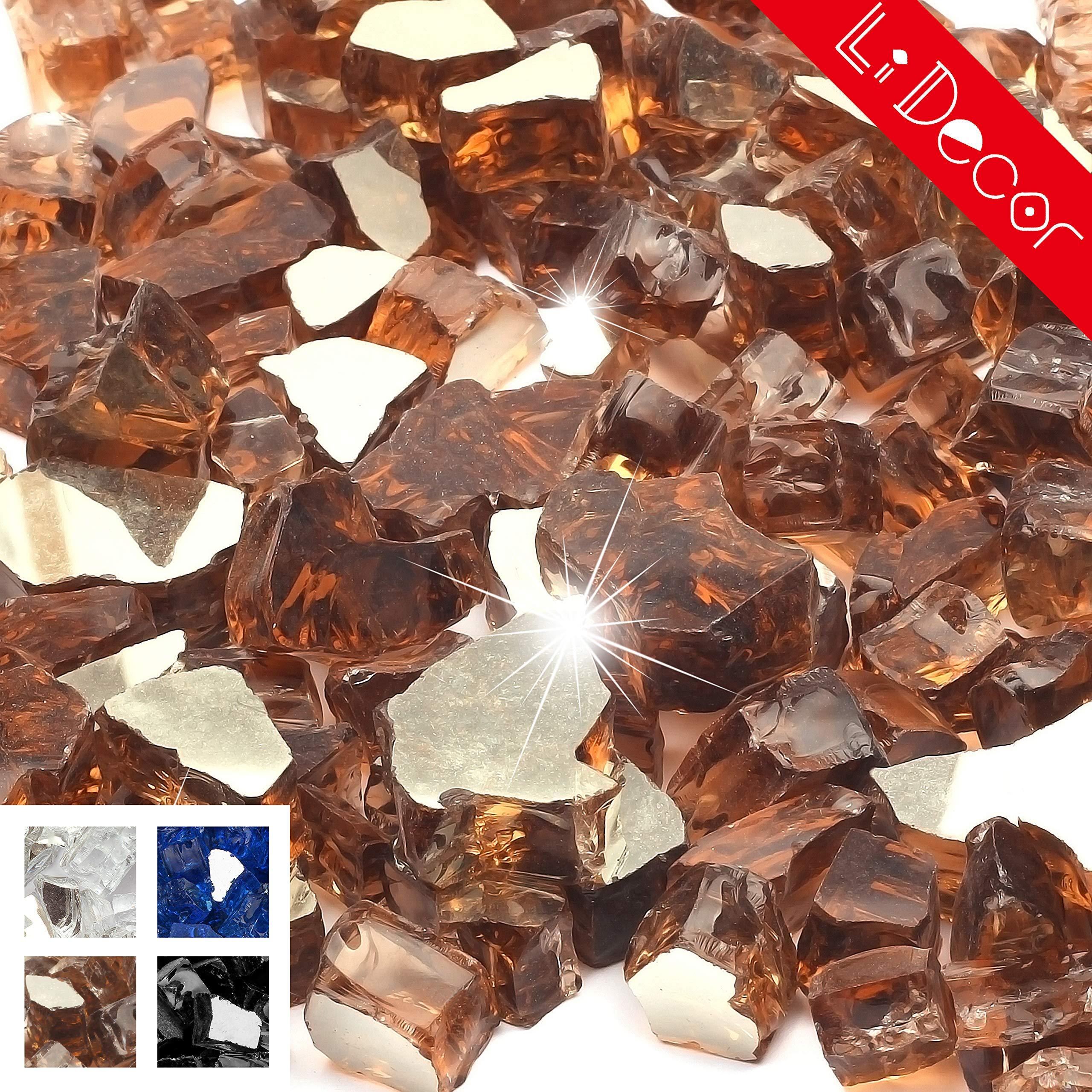 Li Decor 10 Pounds 1/2 Inch Fire Glass High Luster Tempered FireglassOutdoor Rich Copper Reflective