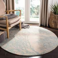 Safavieh Bella Collection BEL115C Handmade Beige and Blue Premium Wool Round Area Rug (5' Diameter)