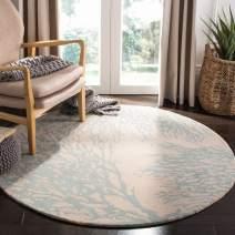 Safavieh Bella Collection BEL115C Handmade Beige and Blue Premium Wool Round Area Rug (5' Diameter)