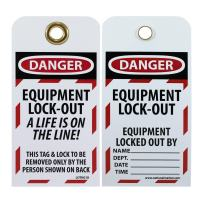 """NMC LOTAG18 Lockout Tag, """"DANGER - EQUIPMENT LOCK-OUT"""" 6"""" Height x 3"""" Width, Unrippable Vinyl, Red/Black on White (Pack of 10)"""
